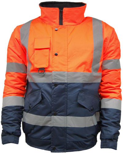Mens High Visibility Two Tone Bomber Jacket | Waterproof | Work ...