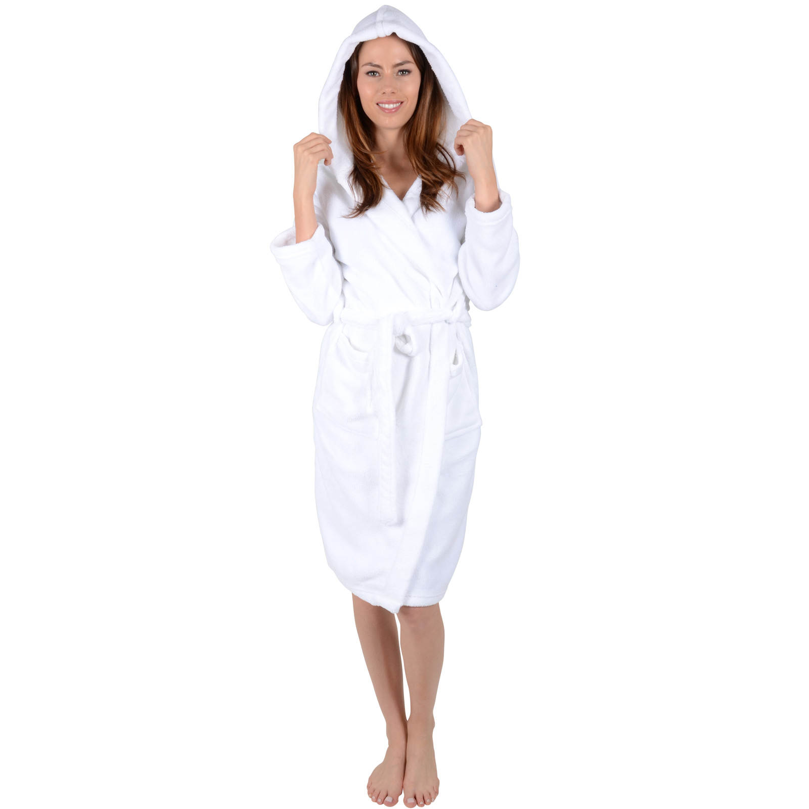 Ladies White Soft Coral Fleece Bath Robe With Hood Dressing Gown ...
